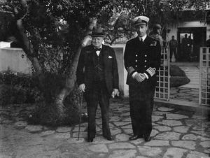 PRESIDENT ROOSEVELT AND PRIME MINISTER CHURCHILL AT THE ALLIED CONFERENCE IN CASABLANCA, JANUARY 1943
