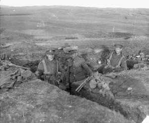 Soldiers of the 1st Battalion, York and Lancaster Regiment manning trenches on the 'Birdcage Line' defences outside Salonika in 1916. THE MACEDONIAN CAMPAIGN, 1915-1918
