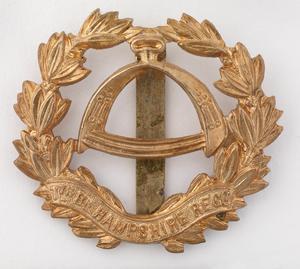 badge, headdress, British, 7th Territorial Battalion, The Hampshire Regiment, other ranks