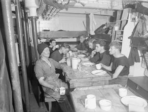 HM TRAWLER STELLA PEGASI ON ACTIVE SERVICE. JULY 1943, ON BOARD HMT STELLA PEGASI WHEN SHE WAS ESCORTING A NORTHERN LIGHTS VESSEL, THE POLE STAR, ON HER TASK OF LANDING STORES AND SUPPLIES TO LIGHT HOUSE CREWS AROUND THE COAST.