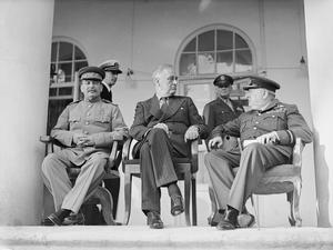 TEHERAN CONFERENCE : WINSTON CHURCHILL, FRANKLIN D ROOSEVELT AND JOSEPH STALIN MEET IN IRAN