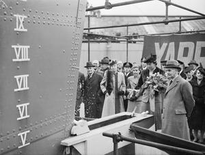NEW SLOOP FOR THE ROYAL INDIAN NAVY LAUNCHED AT YARROWS YARD, ON CLYDEBANK, 22 APRIL 1943, WITH THE CEREMONY PERFORMED BY MRS GODFREY, WIFE OF VICE ADMIRAL V H GODFREY, CB.