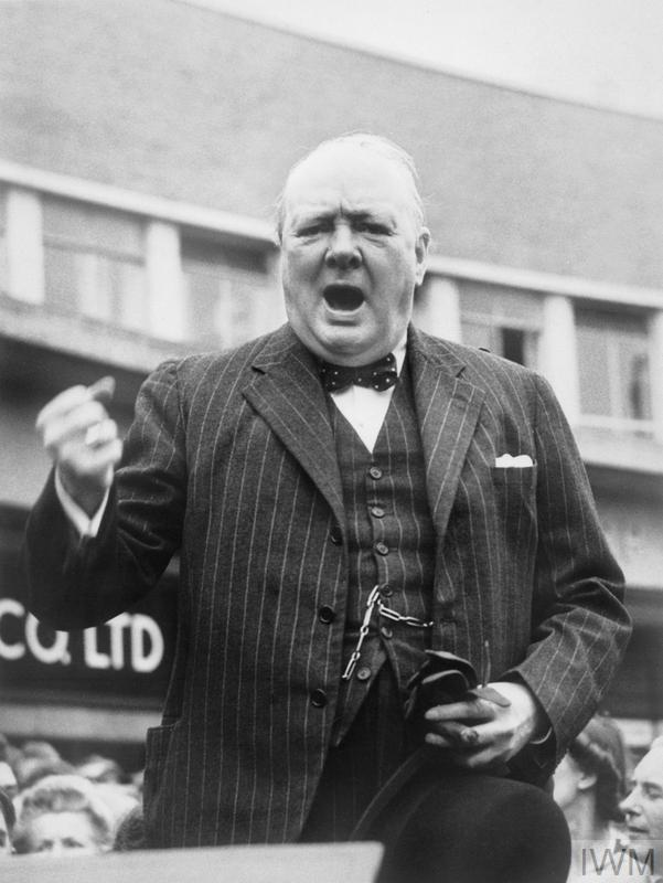 WINSTON CHURCHILL DURING THE GENERAL ELECTION CAMPAIGN IN 1945
