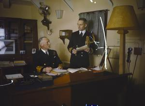 COMMANDER IN CHIEF HOME FLEET, ADMIRAL SIR JOHN TOVEY ON BOARD HMS KING GEORGE V, NOVEMBER 1942
