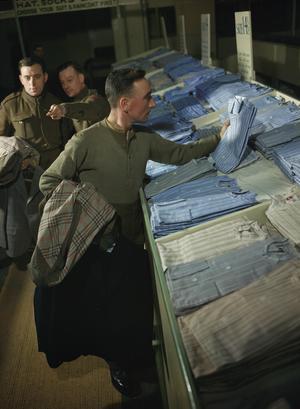 SCENES AT A DEMOBILISATION CENTRE IN BRITAIN, 1944