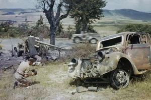 WRECKED GERMAN TRANSPORT MARKS THE RETREAT FROM ROME, 18 JUNE 1944