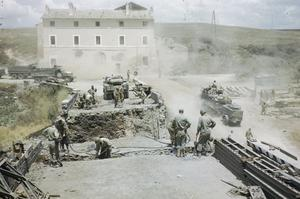ALLIED ENGINEERS REPAIR BRIDGES DEMOLISHED BY GERMANS RETREATING FROM ROME, 18 JUNE 1944