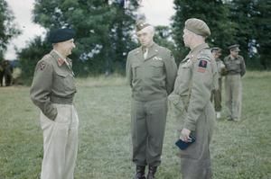 AMERICAN DECORATIONS FOR BRITISH OFFICERS AT GENERAL MONTGOMERY'S HEADQUARTERS, NORMANDY, 13 JULY 1944