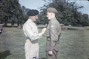 GENERAL MONTGOMERY DECORATES MEN OF THE 50TH DIVISION, NORMANDY, 17 JULY 1944