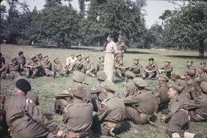 GENERAL MONTGOMERY DECORATES MEN OF THE 50TH DIVISION IN NORMANDY, 17 JULY 1944