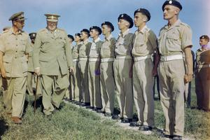 WINSTON CHURCHILL AT LORETO AERODROME IN ITALY, 25 AUGUST 1944