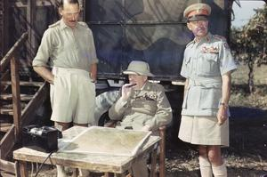 WINSTON CHURCHILL AT EIGHTH ARMY HEADQUARTERS IN ITALY, 26 AUGUST 1944
