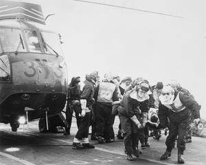 ON BOARD AN AIRCRAFT CARRIER OF THE TASK FORCE: PHOTOGRAPHS BY BRITISH FORCES OFFICIAL    PHOTOGRAPHER.