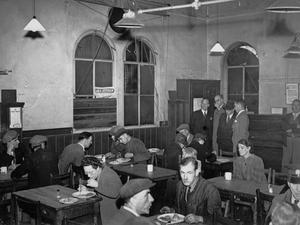 BRITISH RESTAURANT BEFORE INTERIOR DECORATION: EATING OUT IN WARTIME BRITAIN, 1944