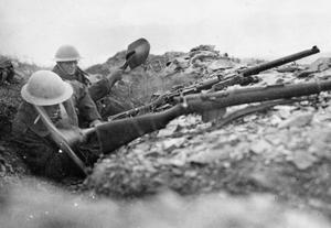 Two British infantrymen attempt to deepen a trench using pick and shovel in the rocky terrain around Doiran. THE BRITISH ARMY IN SALONIKA DURING THE FIRST WORLD WAR