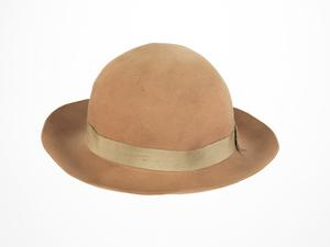 woman's felt hat, yellow, Women's Land Army