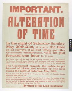 IMPORTANT: ALTERATION OF TIME 1916