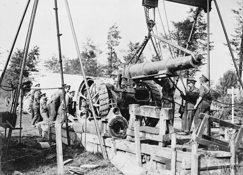 Battle of Polygon Wood; The Army Ordnance Corps lower a new barrel into position on an 8-inch howitzer near Ypres on 27 September 1917 during the Battle of Polygon Wood. Drier conditions in September enabled the BEF to make better progress during this phase of the offensive.