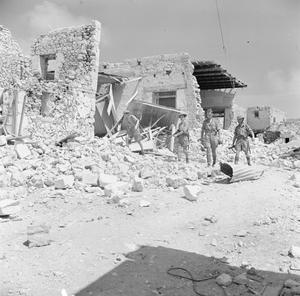 British troops among the ruins of Tobruk