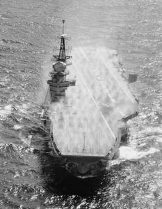 HMS HERMES PREPARED IN CASE OF FALL OUT. JUNE 1966, AERIAL PHOTO AT SEA DURING WORKING UP OF THE CARRIER AFTER HMS HERMES' LONG REFIT.