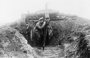 German stereoscopic camera fitted with periscope for trench use on the Western Front.