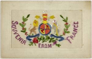 postcard, embroidered
