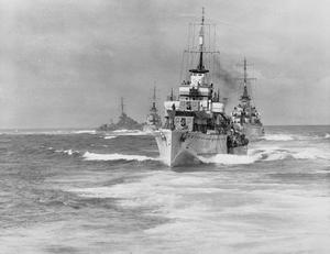 ROYAL NAVY DESTROYER MANOEUVRES AT SCAPA FLOW, 1942