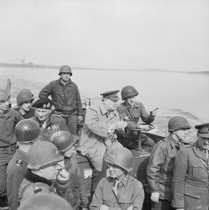 PRIME MINISTER WINSTON CHURCHILL CROSSES THE RIVER RHINE, GERMANY 1945