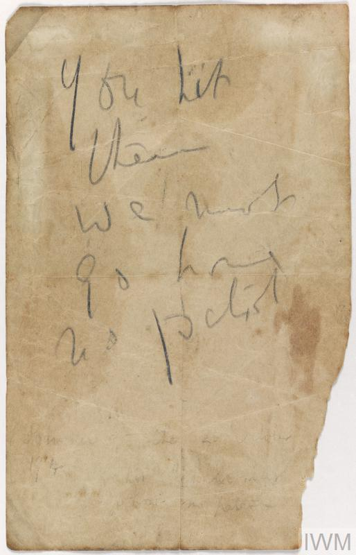 Message dropped from British aircraft to an artillery battery on the Western Front, October 1914