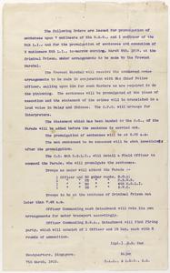Execution Orders, Singapore Mutiny, 1915