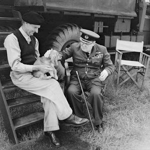 WINSTON CHURCHILL VISITS NORMANDY, AUGUST 1944