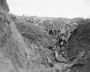 Men in a muddy trench at Cambrin
