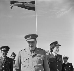 WINSTON CHURCHILL VISITS HIS OLD REGIMENT DURING THE CAIRO CONFERENCE, EGYPT, DECEMBER 1943