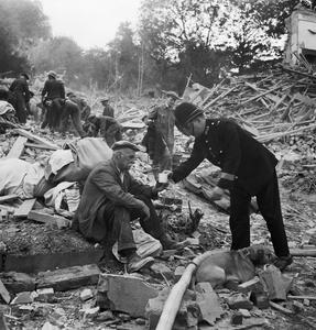 DEVASTATION CAUSED BY A FLYING BOMB, LONDON, ENGLAND, 1944
