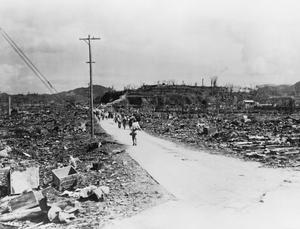 NAGASAKI, JAPAN, AFTER THE DROPPING OF THE ATOMIC BOMB, 1945