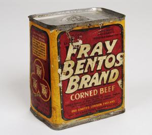 tin of Fray Bentos Brand corned beef