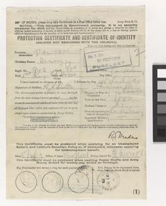 First World War protection certificate and certificate of identity: Army form Z.11 - EH Common Objects case