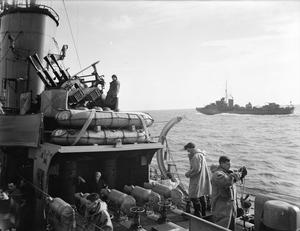 ON BOARD A DESTROYER AT SEA WITH THE FLEET. 1940, OR 1941, ON BOARD HMS KELVIN.