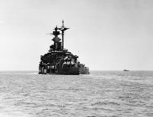 HMS MALAYA LEAVING NEW YORK HARBOUR AFTER REFITTING IN AMERICA UNDER FACILITIES AFFORDED BY THE US GOVERNMENT.
