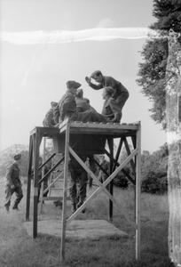 BELGIANS TRAIN IN ENGLAND: PARACHUTE TRAINING AT RINGWAY, NEAR MANCHESTER, 1942