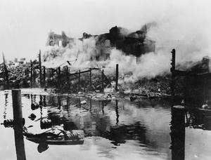 CAPTURED GERMAN PHOTOGRAPHS OF HAMBURG AIR RAIDS, 1944