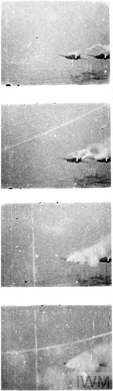 CAMERA GUN RECORDS HMS ARK ROYAL FIGHTER'S VICTORY. 1941, THE CAMERA GUN PICTURES WERE TAKEN BY ONE OF THE FIGHTERS FROM HMS ARK ROYAL DURING COMBAT WITH TWO ITALIAN SAVOIA 79 TORPEDO BOMBERS, WHICH WERE ATTACKING A LARGE BRITISH CONVOY IN THE MEDITERRANEAN.