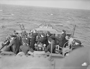 ON BOARD THE DESTROYER HMS COSSACK DURING TORPEDO AND ANTI-SUBMARINE EXERCISES. 1940.
