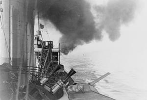 ON BOARD THE CRUISER HMS SUFFOLK. MAY 1941, DURING PATROL AND DURING THE CHASE OF THE GERMAN BATTLESHIP BISMARCK, WHICH HMS SUFFOLK SPOTTED AND SHADOWED.