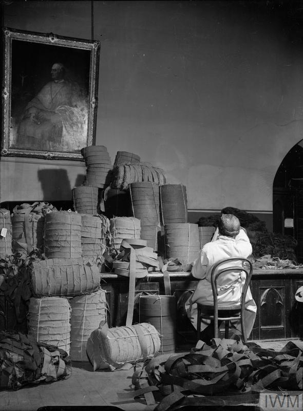 WOMEN OF THE WVS GARNISH CAMOUFLAGE NETS: WAR WORK IN LONDON, ENGLAND, UK, 1943