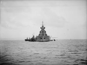 HMS KING GEORGE V, BRITISH BATTLESHIP. 20 OCTOBER 1941, AT ANCHOR AT SCAPA FLOW.