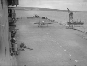 ON BOARD THE AIRCRAFT CARRIER HMS VICTORIOUS. 23 TO 26 OCTOBER 1941, AT SCAPA FLOW.