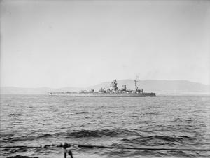 HMS ARK ROYAL AND HMS RODNEY AT SEA. SEPTEMBER 1941, ON BOARD THE ESCORTING CRUISER HMS HERMIONE, IN THE MEDITERRANEAN.