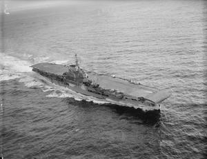 HMS VICTORIOUS, BRITISH AIRCRAFT CARRIER. 28 OCTOBER 1941, SCAPA FLOW, AERIAL PHOTOGRAPH.