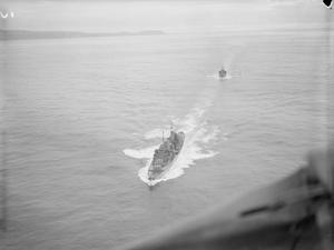 AERIAL VIEWS OF HMS EDINBURGH. 28 OCTOBER 1941, SCAPA FLOW.